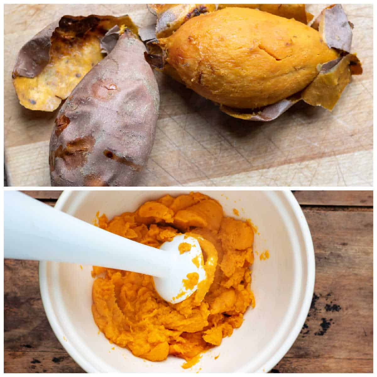 Collage: roasted sweet potato, mashed in a bowl.