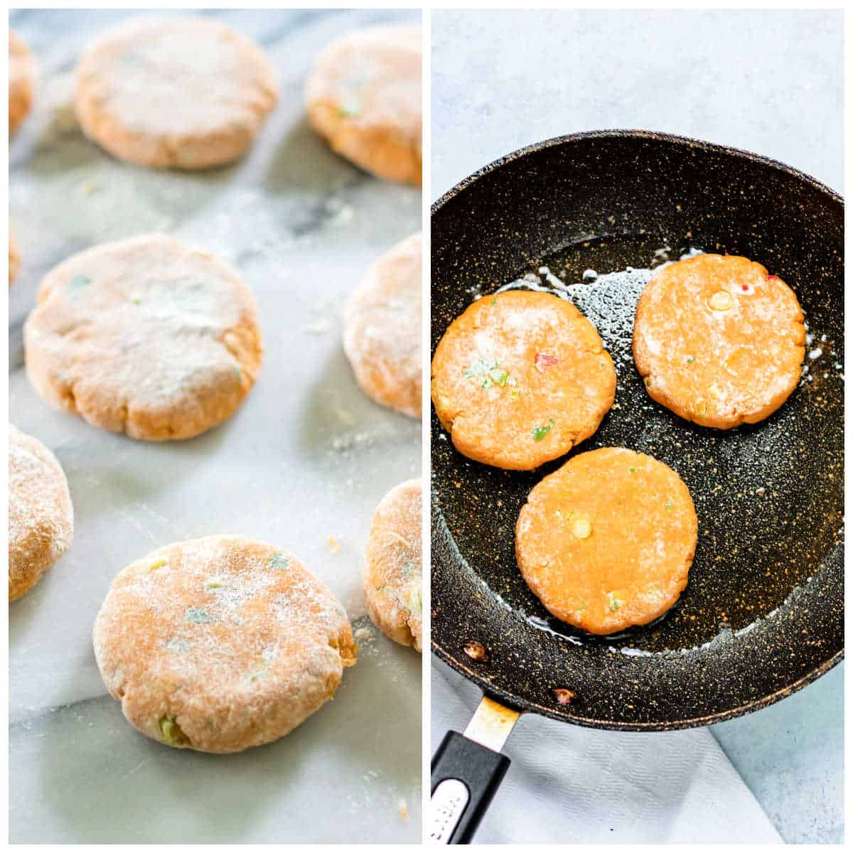 Collage: rolling potato cakes, frying them.