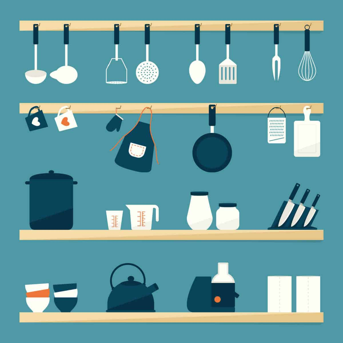 Illustration of kitchen shelves to highlight how many ounces in a quart.