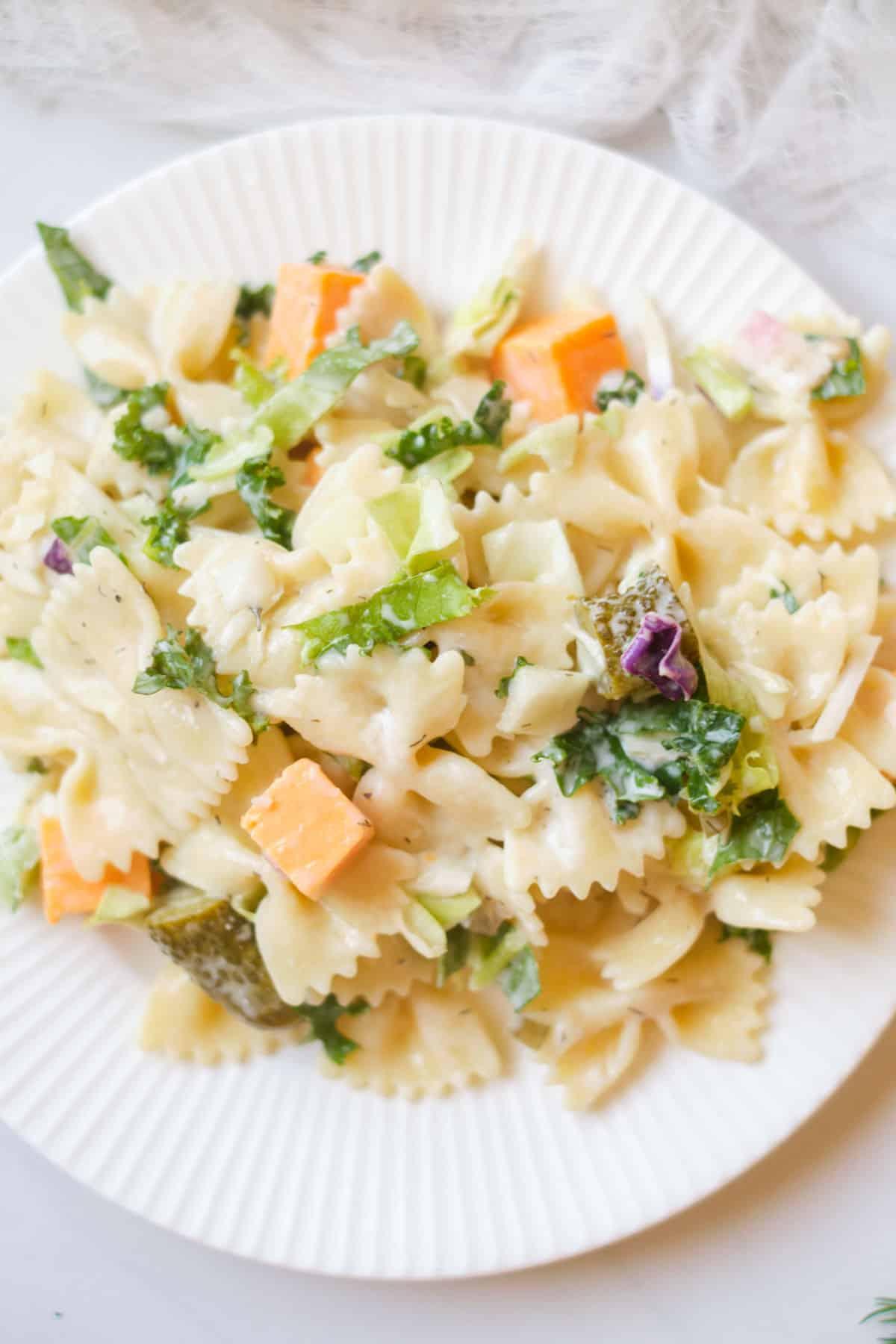 Plate of pasta salad.