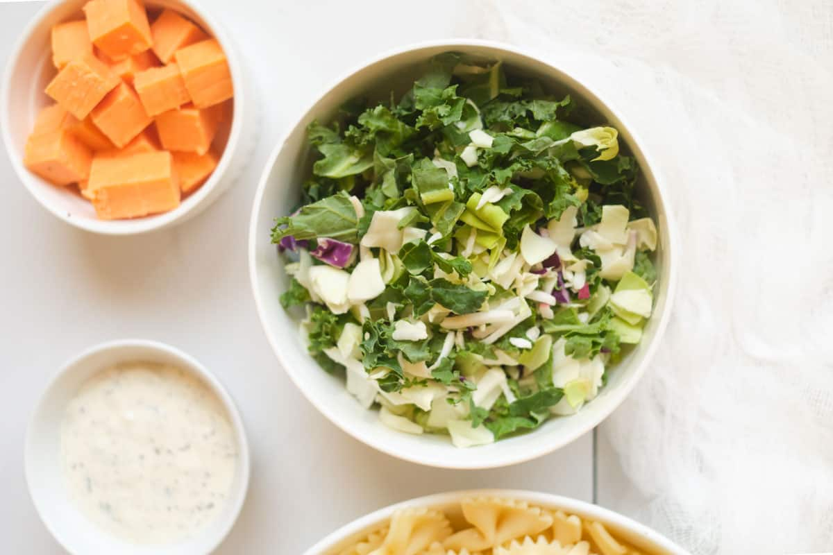 Bowls of ingredients.