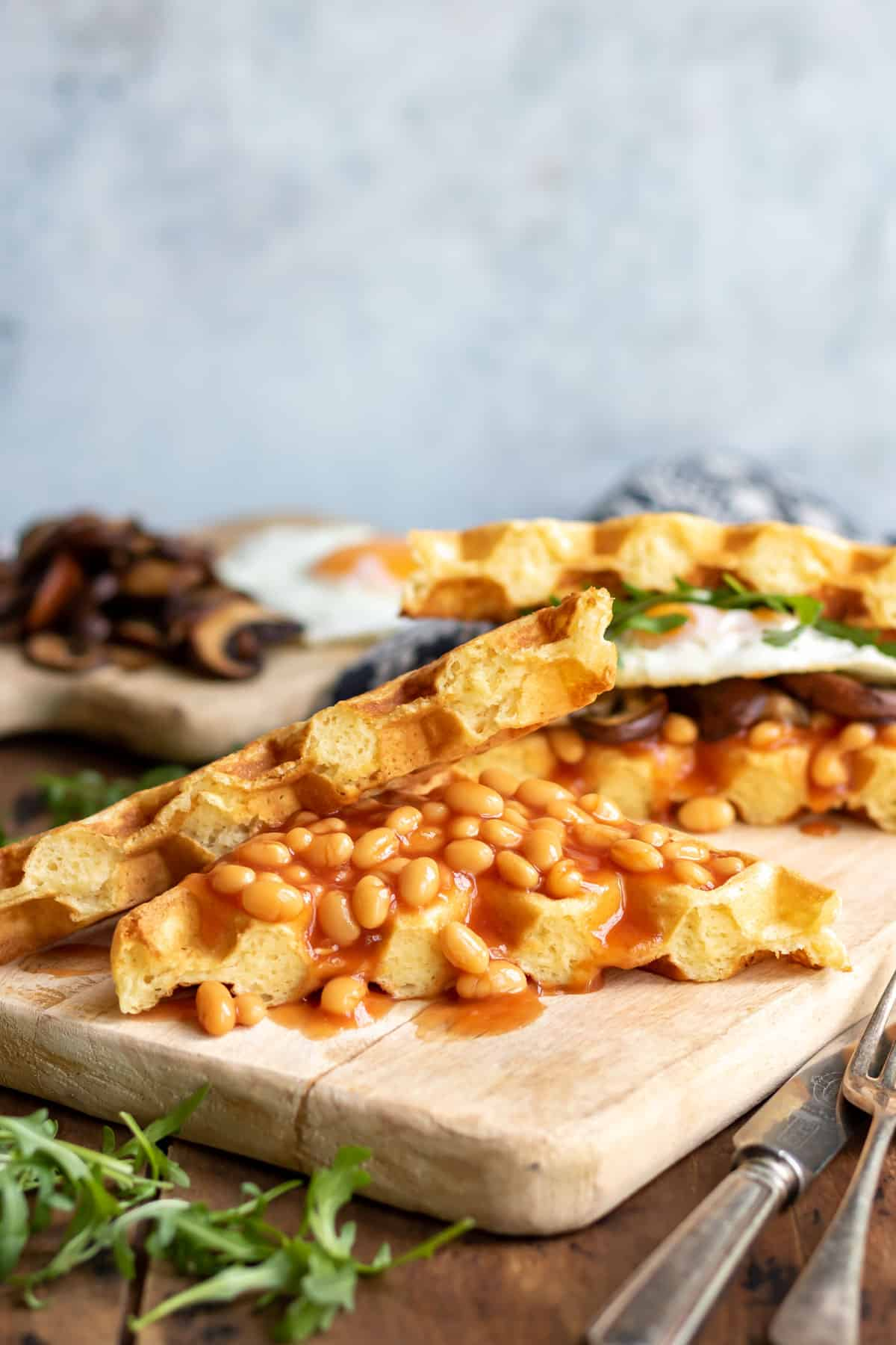 Waffles with beans and eggs.