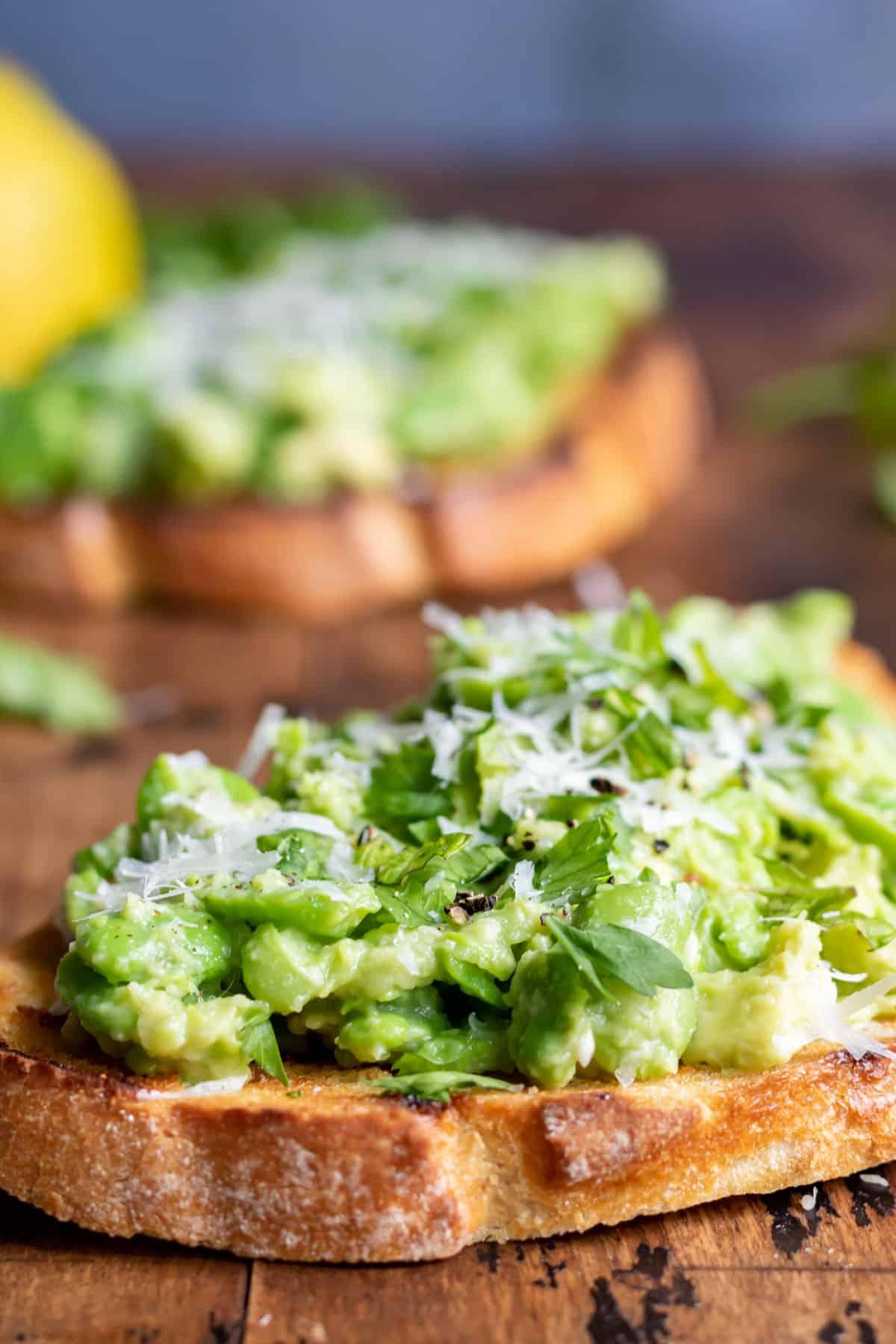 Avocado and bean mash on toast.