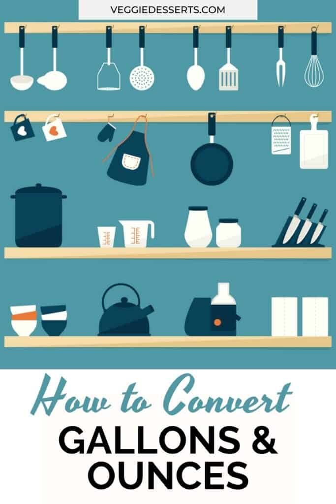 Illustration of a kitchen with text: how to convert gallons and ounces.