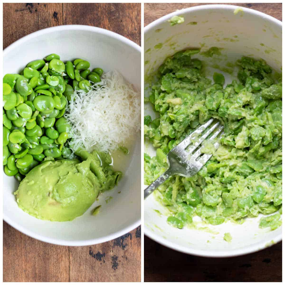 Making avocado broad bean topping in a bowl.