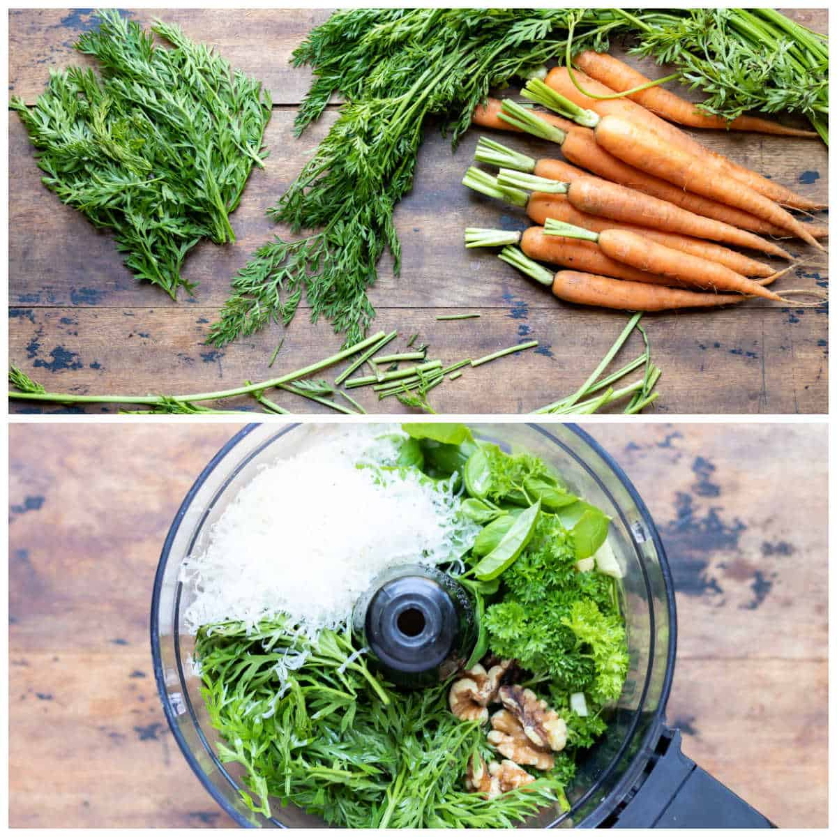 Collage: chopping carrot greens, pesto ingredients in a food processor.
