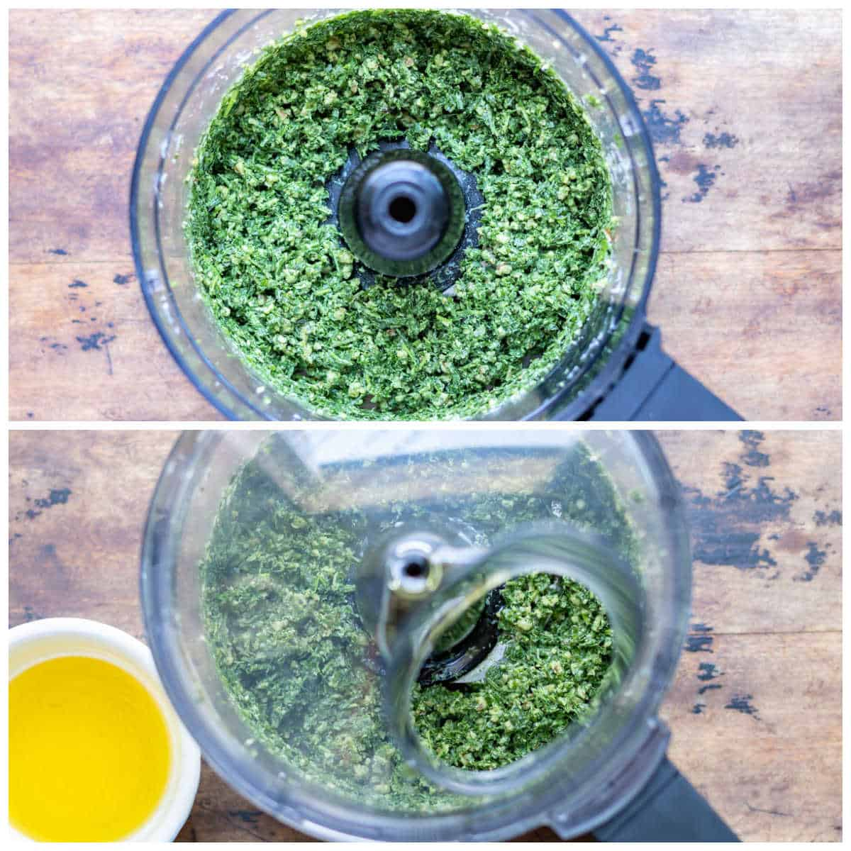 Collage: food processor with blended carrot greens pesto, adding oil.