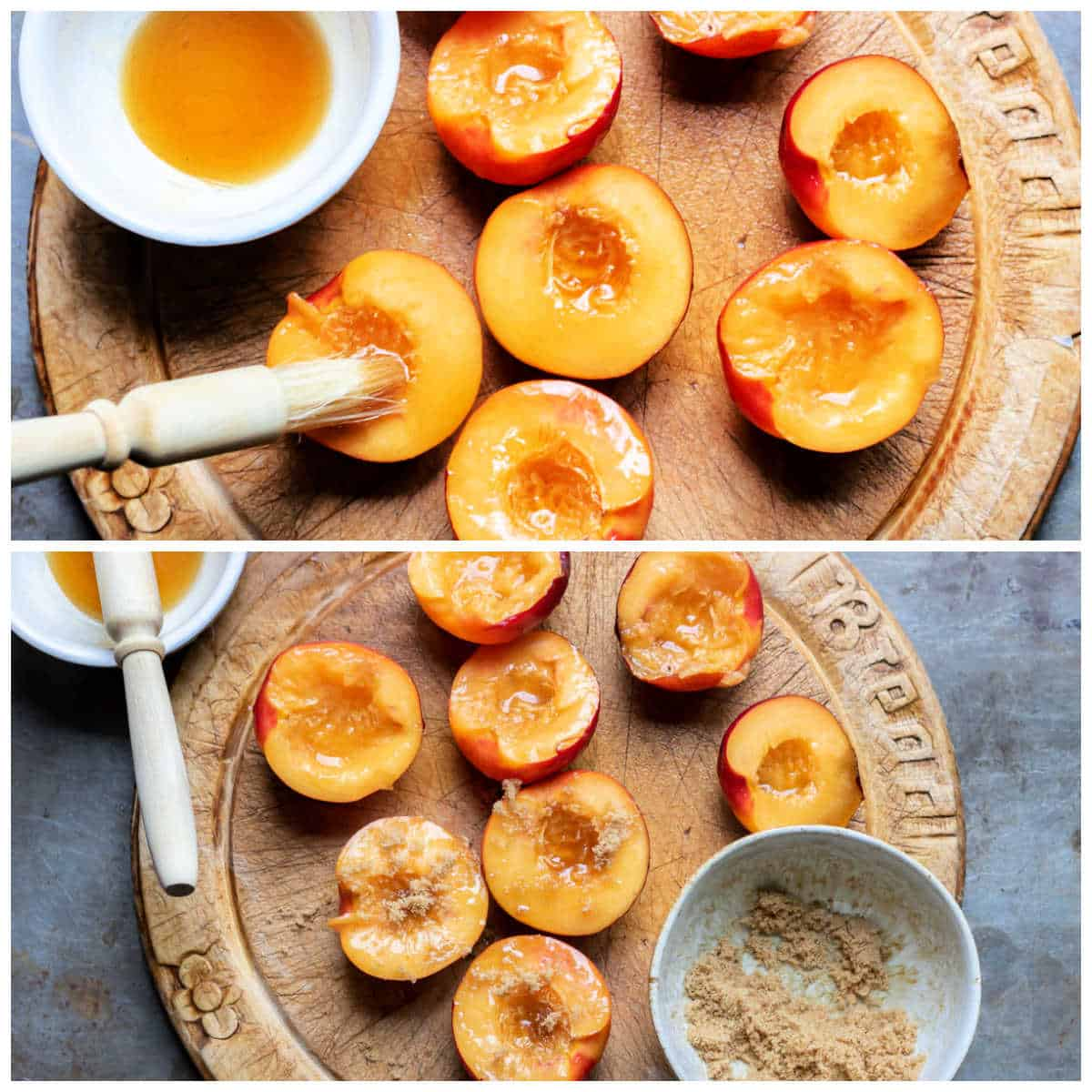 Brushing cut nectarines with syrup, and sprinkling with brown sugar.
