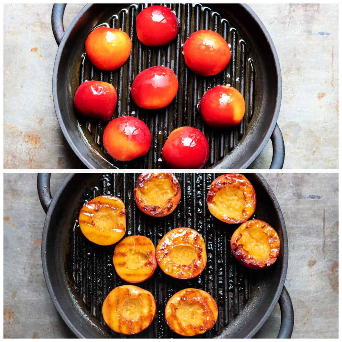 Nectarines being cooked on a grill pan.
