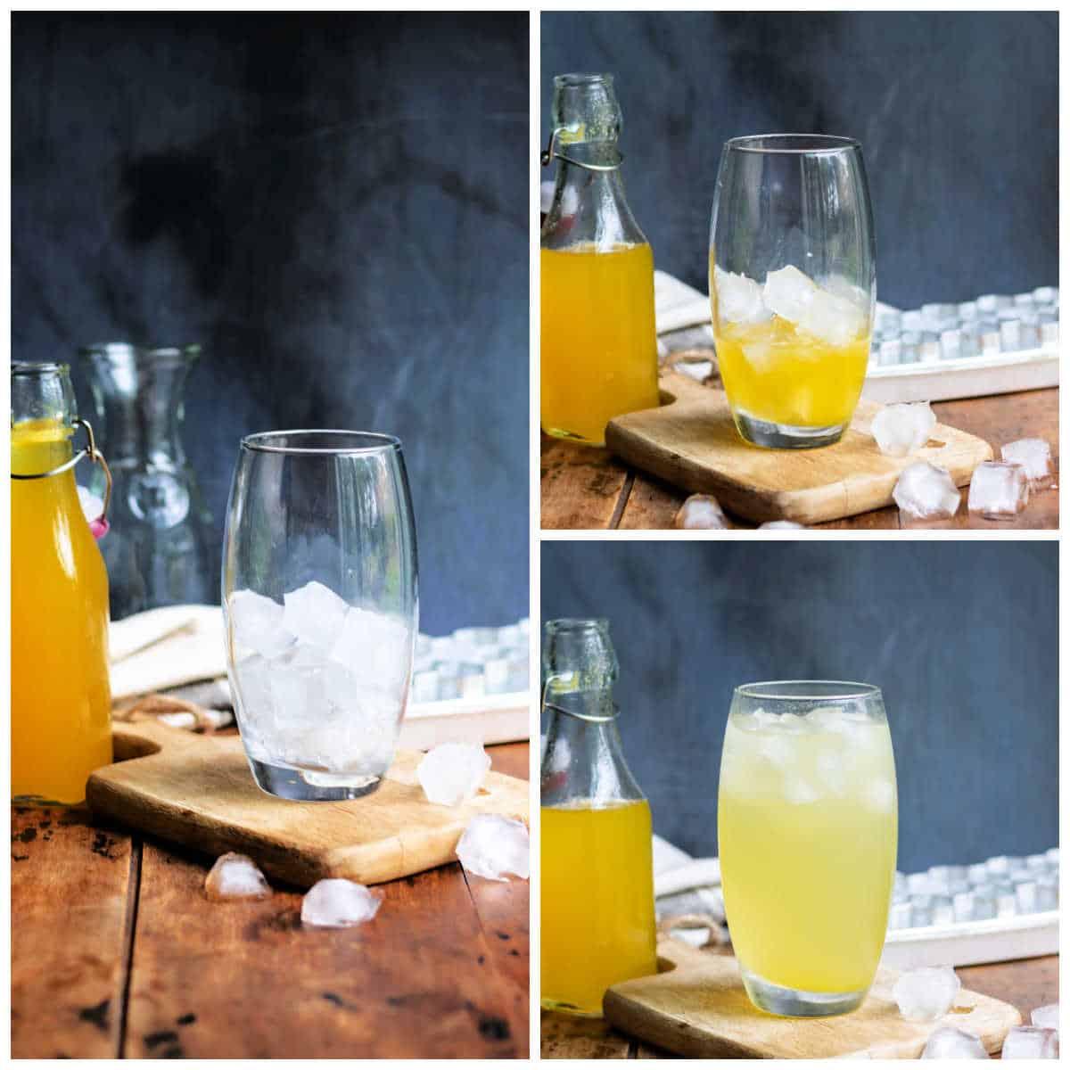 Collage making mango soda.