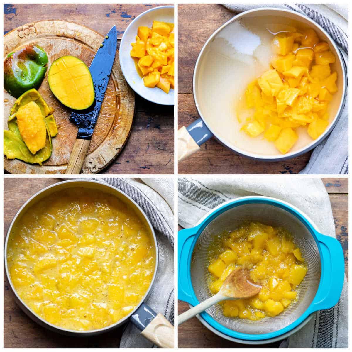 Collage of making mango syrup.