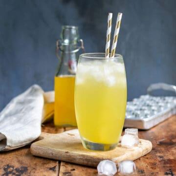 Glass of mango soda.