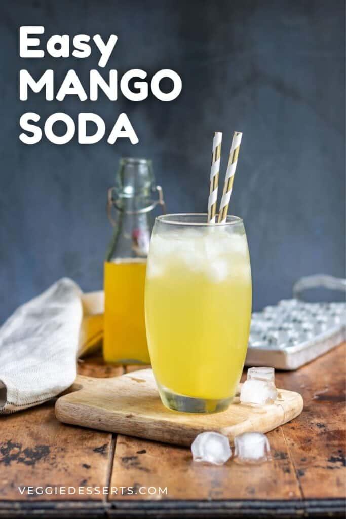 Glass of fizzy soda, with text: Easy Mango Soda.
