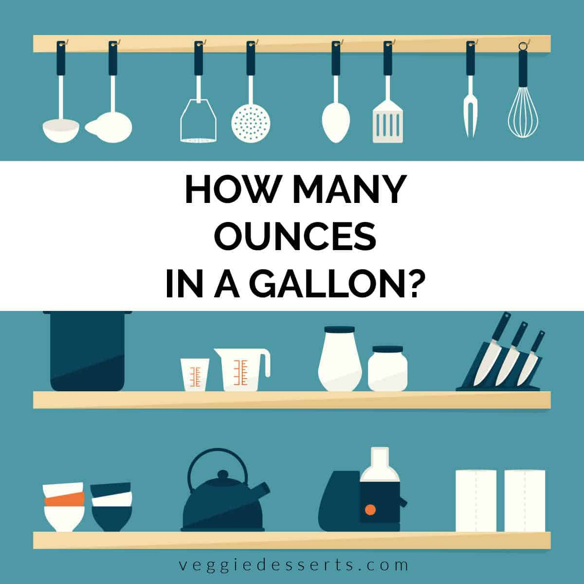 Illustration of kitchen shelves with text: how many ounces in a gallon?