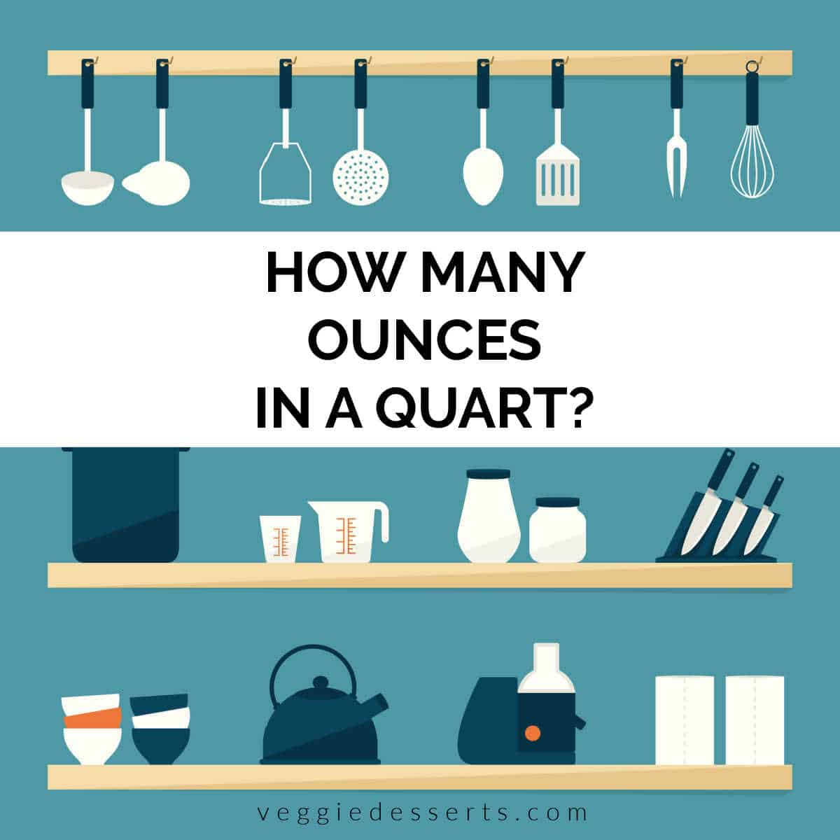 Illustration of kitchen shelves with text, how many ounces in a quart.
