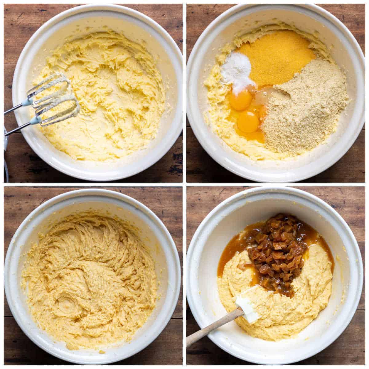 Collage of making almond cake batter.