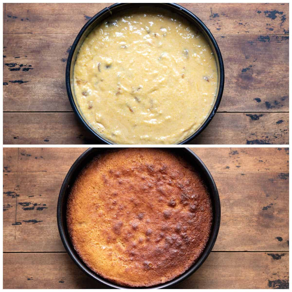 Collage of batter in cake pan and baked cake.