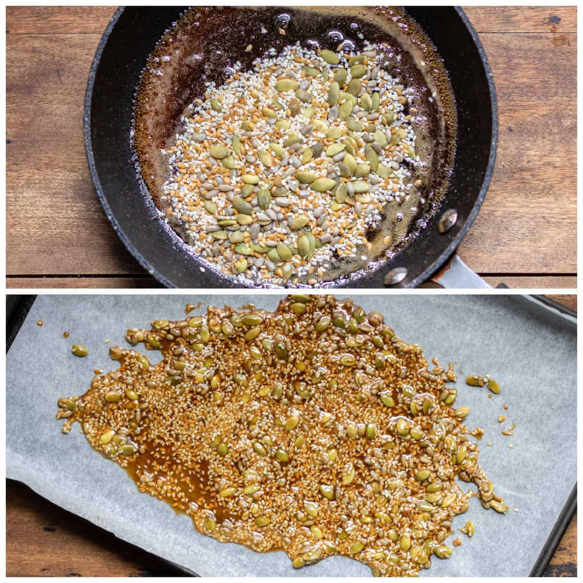 Collage of making candied seeds.