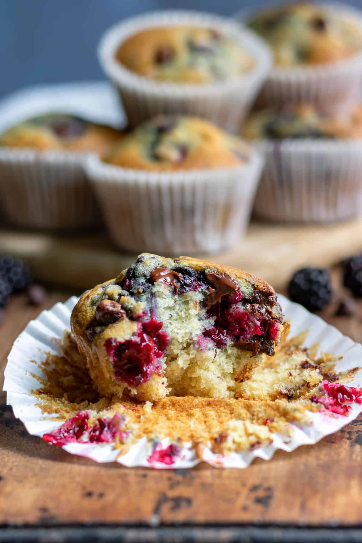 Close up of a muffin with a bite out.