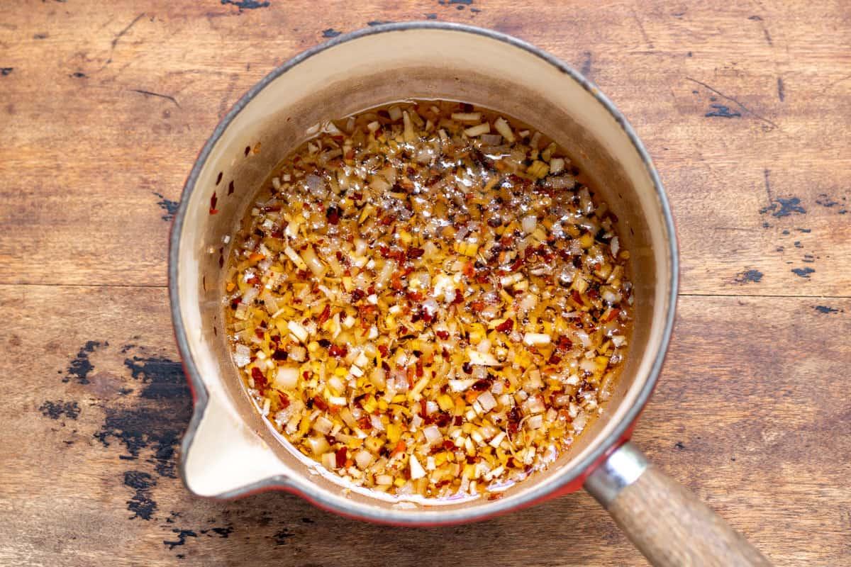 Pot of chili garlic oil.