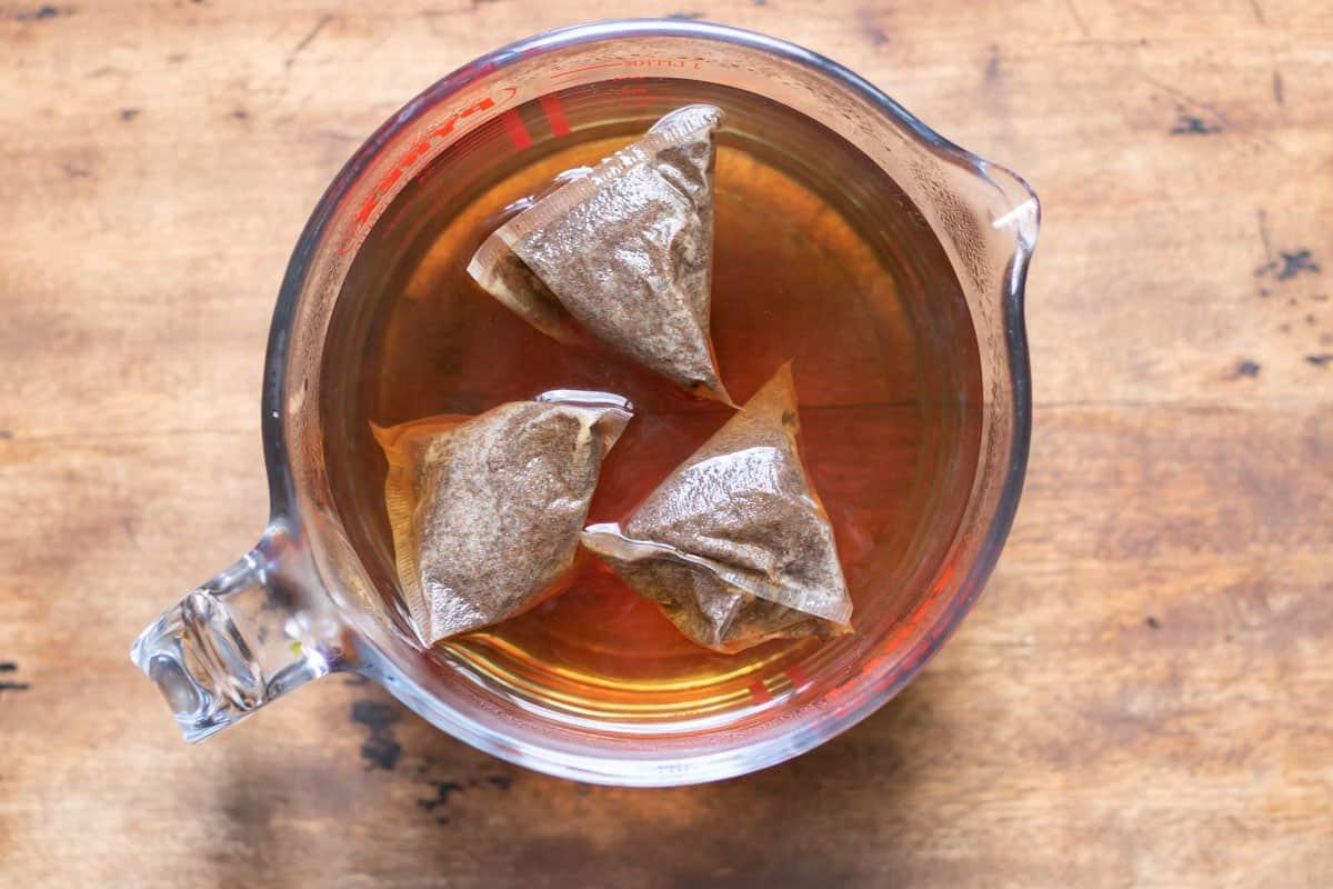 Dish of tea brewing.
