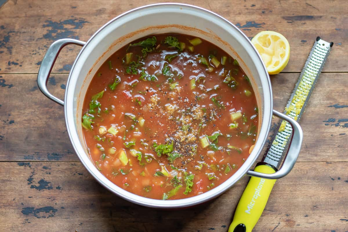 Finished soup in a pot.