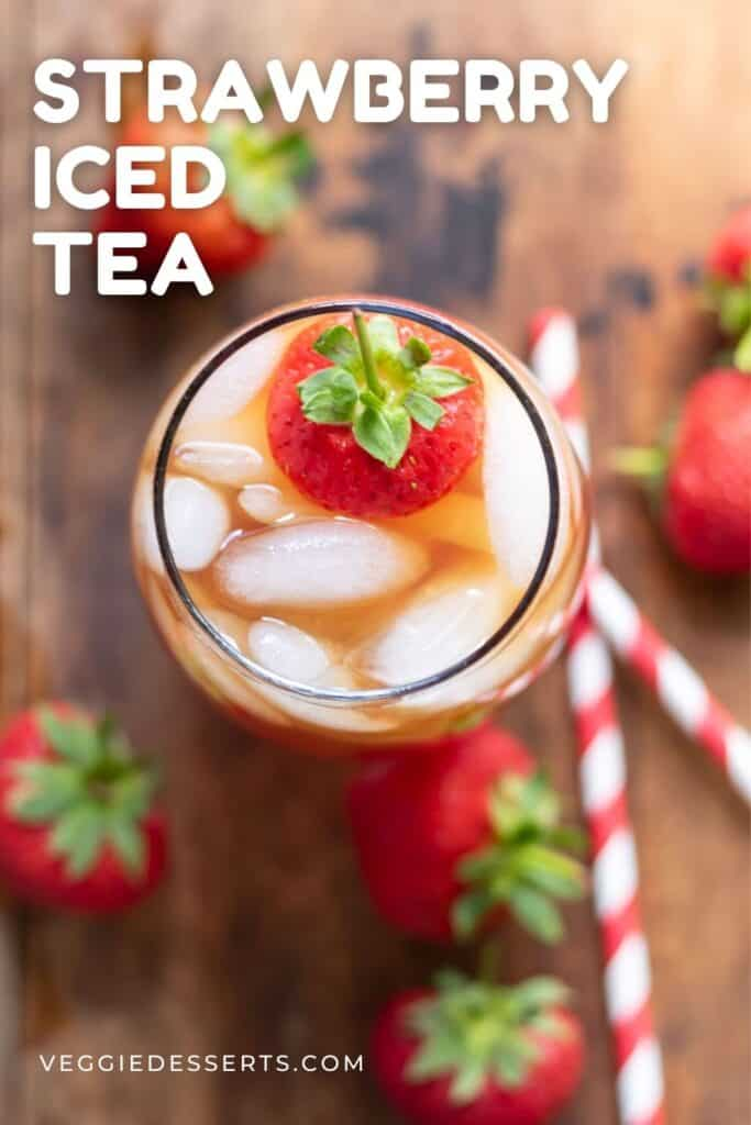 Pitcher of iced tea with text: Strawberry Iced Tea.