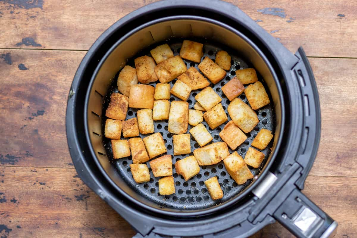 Air fried croutons.