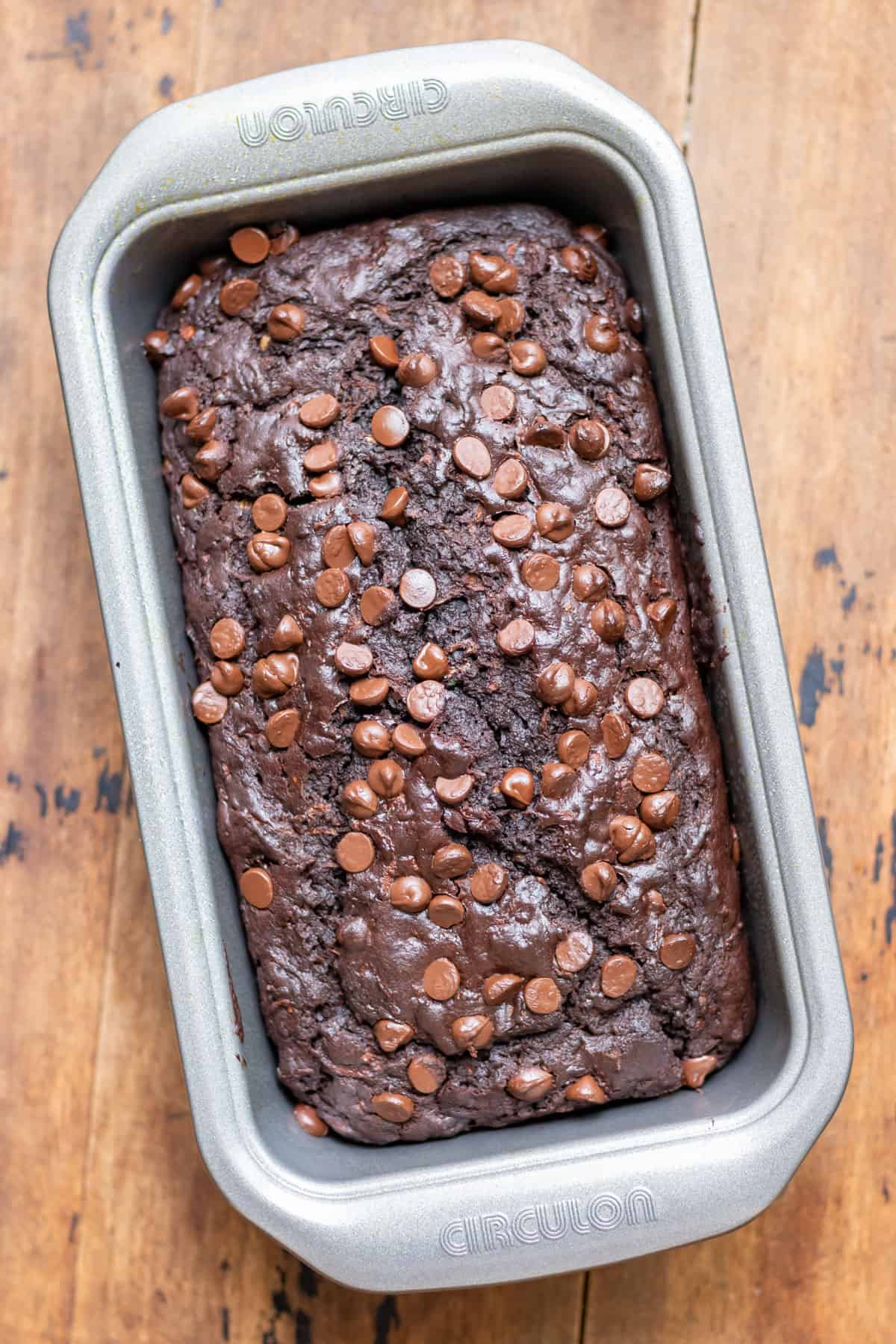 A cooked chocolate zucchini bread in the pan.