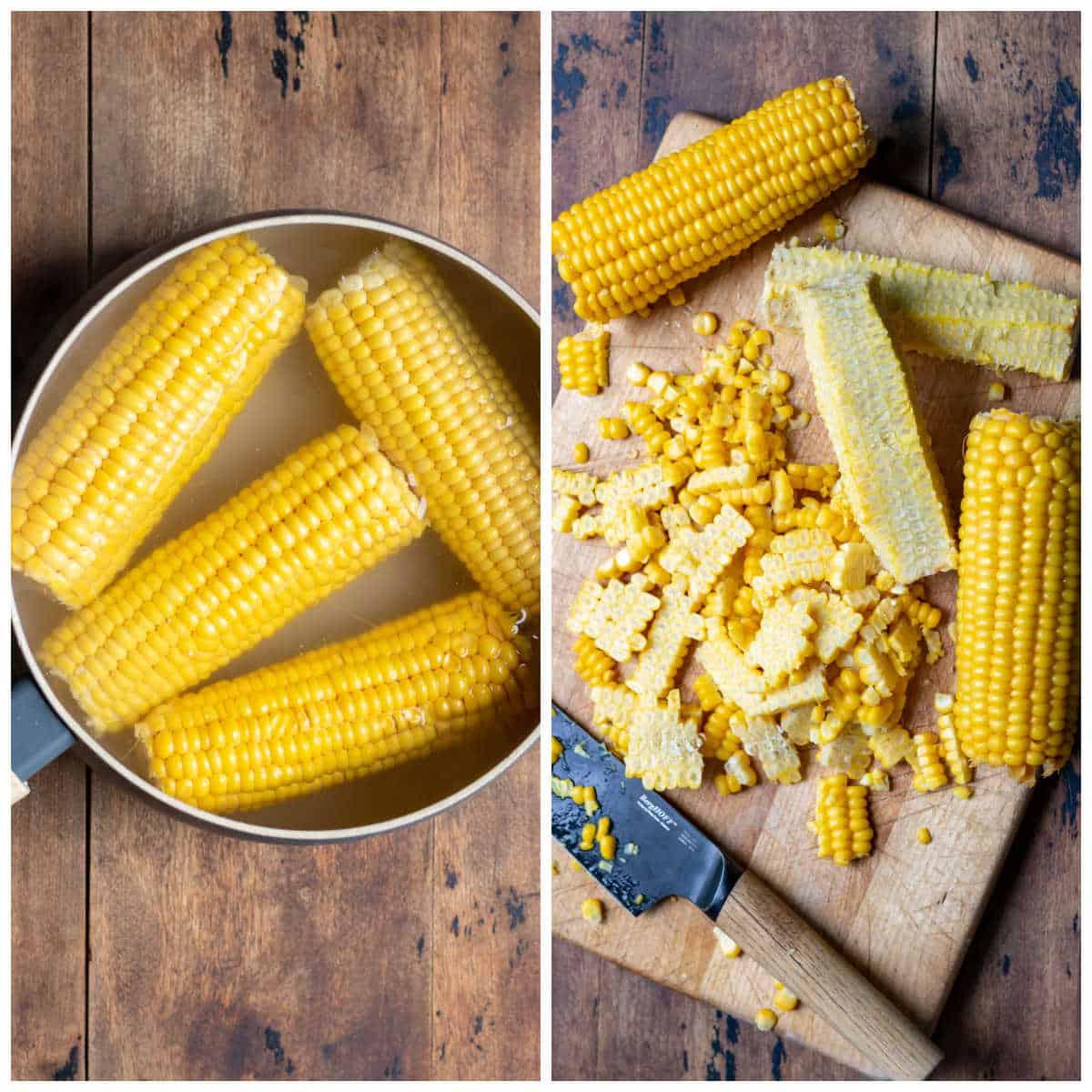 Collage: Boiling corn, removing kernels.