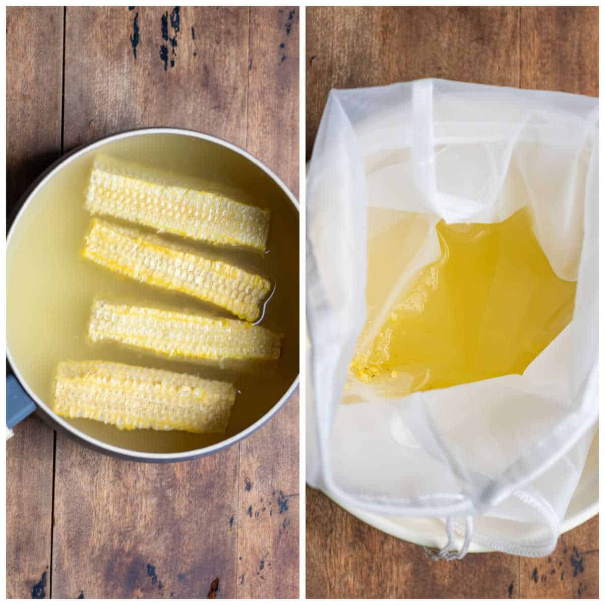 Collage: corn cobs boiling, straining corn out of the water.