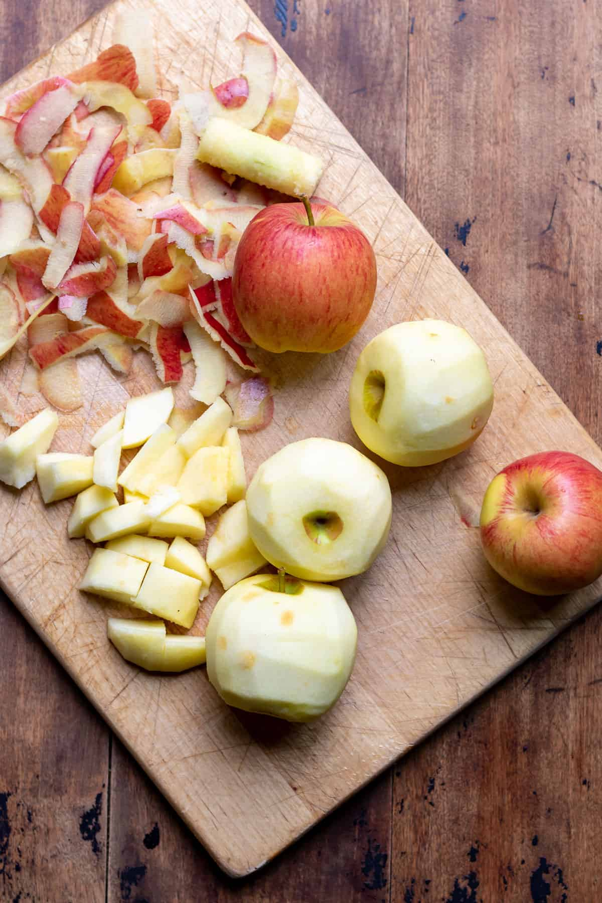 Peeling and chopping apples.