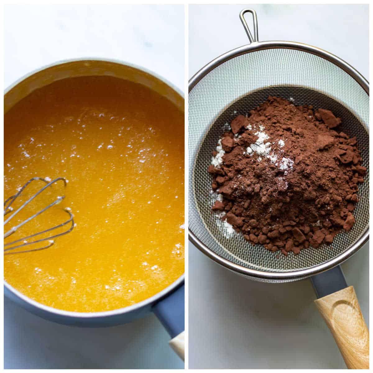 Melted butter and sugar in a pan, and sifting in the dry ingredients.