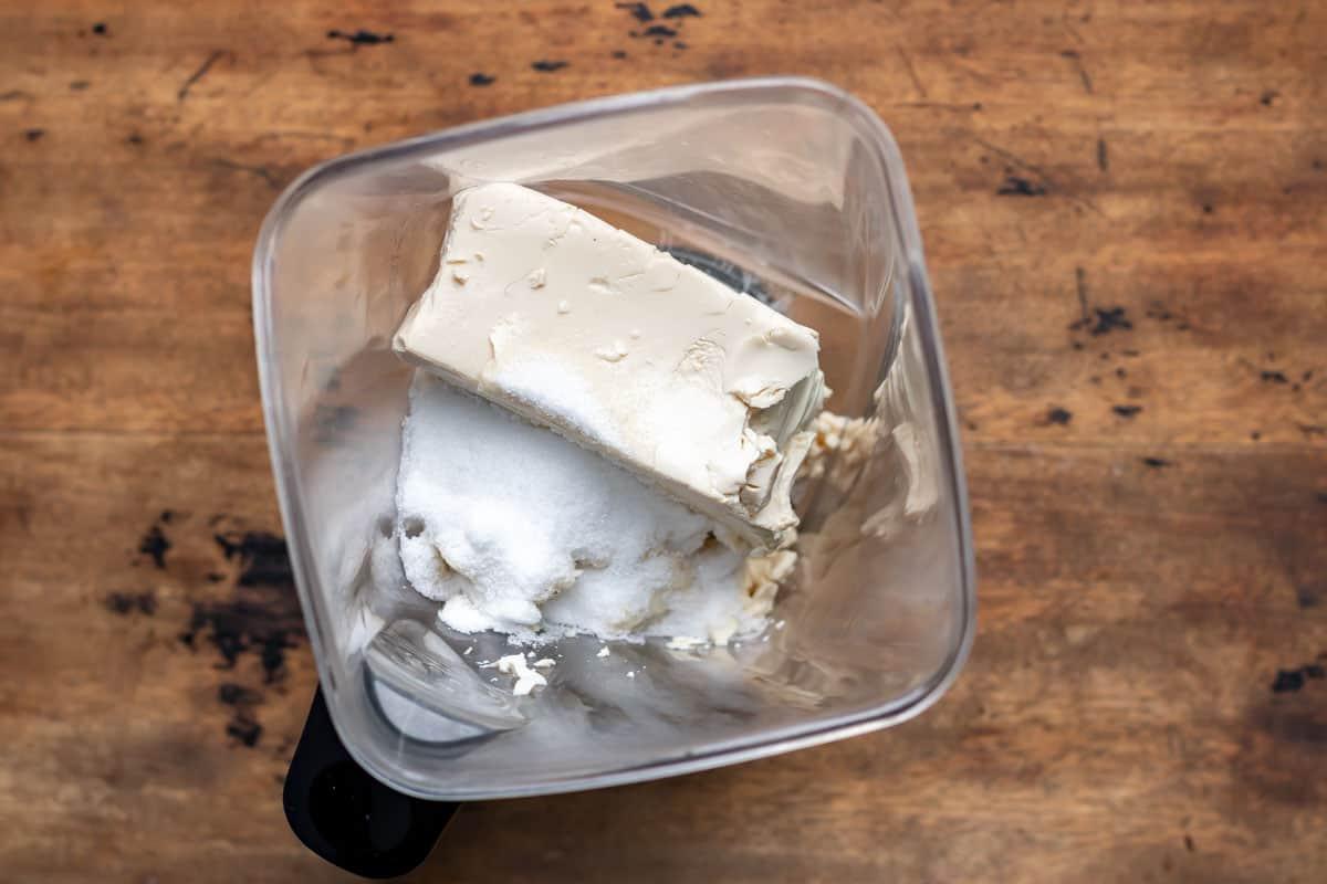 Tofu, sugar and vanilla in blender.